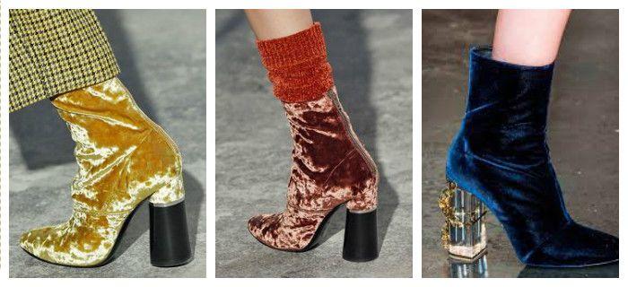 Модная обувь осень-зима 2016 - 2017 с отделкой бархатом, фото