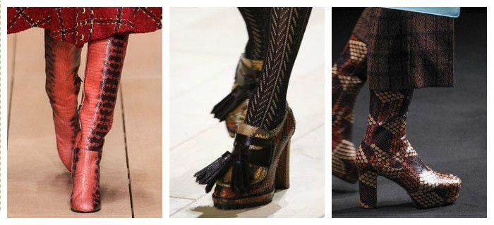 Модная обувь осень-зима 2016 - 2017 из кожи рептилий, фото