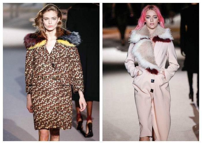 Модные пальто 2017 с мехом, фото.