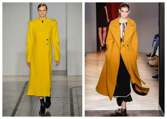 Модные пальто 2017, горчичного и желтого цвета, фото