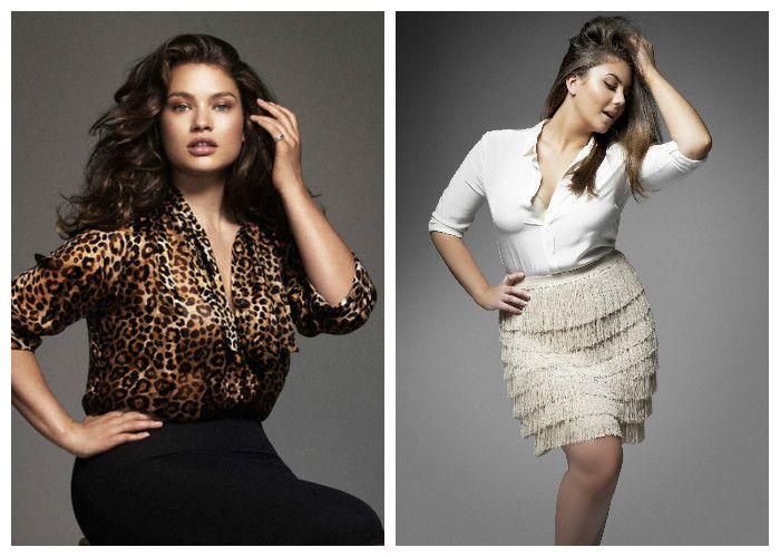 Одежда для полных женщин, фото. Чтобы подчеркнуть красоту декольте, расстегните пару пуговиц на блузке.