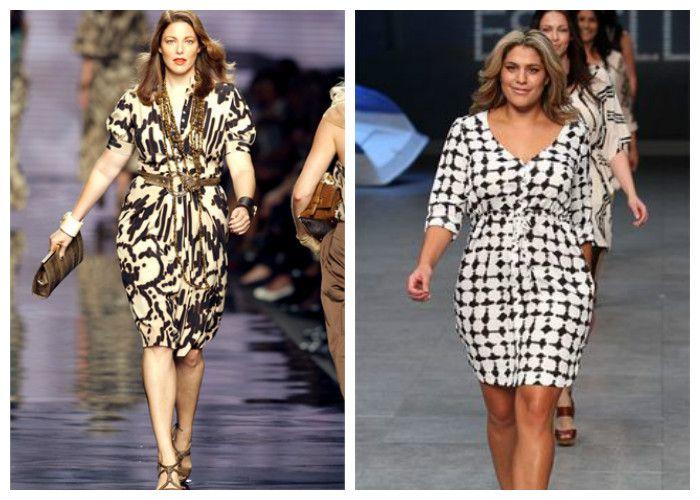 Одежда для полных женщин, фото. Лучший фасон платья - приталенное с V-образным вырезом, длиной до колена.
