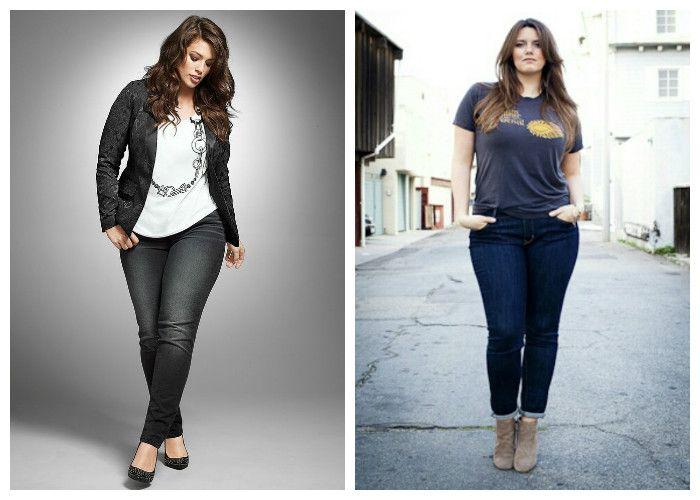 Одежда для полных женщин, фото. Зауженные джинсы рекомендуется носить с удлиненными футболками, пиджаками или кардиганами.