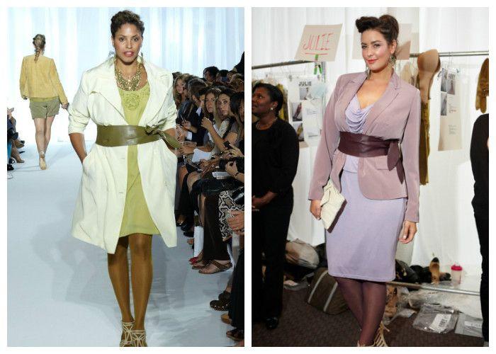 Одежда для полных женщин, фото. Широкие ремни визуально делают фигуру стройнее.