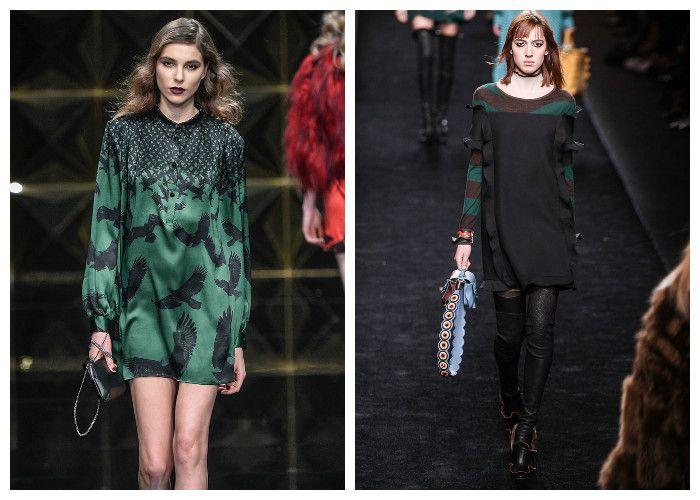 Модные платья 2017, фото. Тенденция: изумрудный и темно-зеленый цвет.