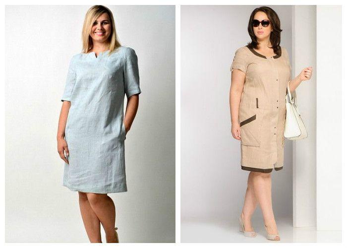 Платья для полных девушек / женщин, фото. Прямой силуэт.