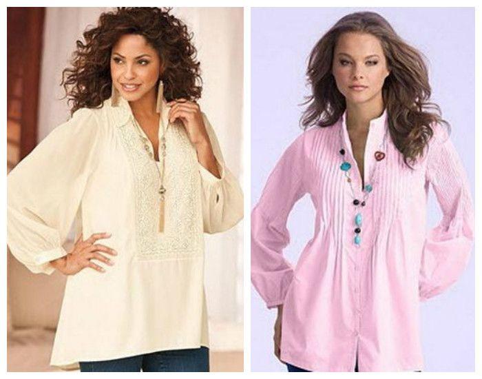 Блузки для полных девушек / женщин, фото.