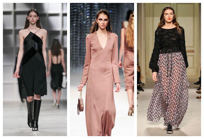 Мода осень зима 2016 - 2017: женственные платья и струящиеся юбки, фото