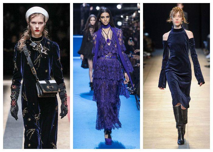 Модные цвета осень - зима 2016 - 2017: синий коллекции Prada, Elie Saab, Costume National, фото