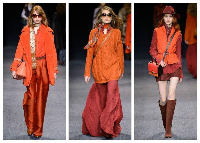 Модные цвета осень - зима 2016 - 2017: оранжевые, бежевые и коричневые тона, коллекция Trussardi, фото