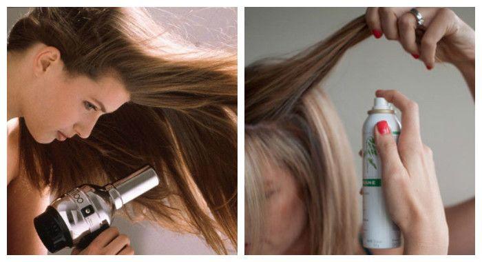 Создать прикорневой объем волос можно с помощью фена и средств для укладки, фото