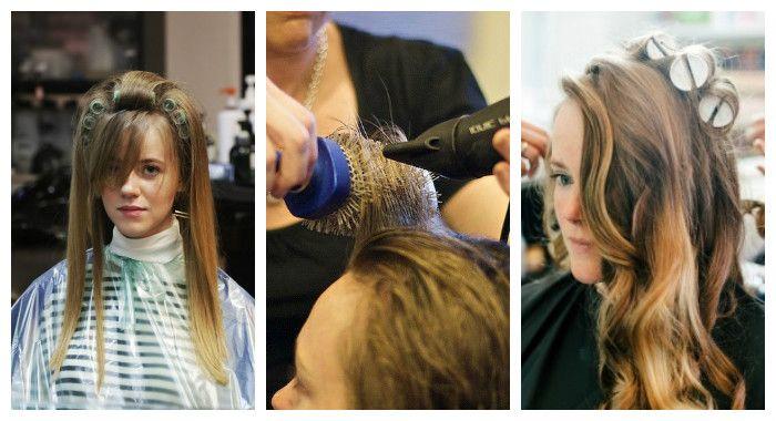 Создаем прикорневой объем волос с помощью сушки с круглой расческой или бигудей, фото