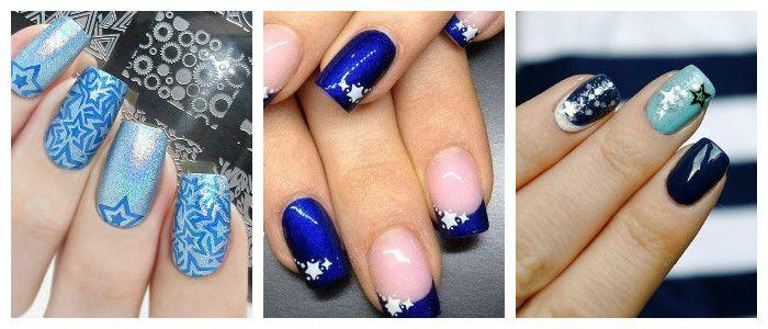Звездный дизайн ногтей на Новый год, фото