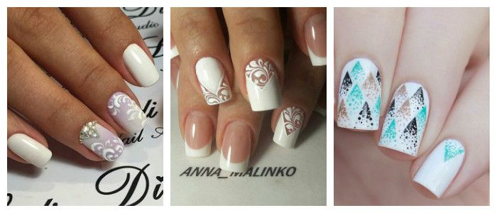 Фото дизайна ногтей в белом цвете на Новый год