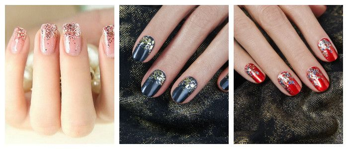 Фото искрящегося дизайна ногтей на Новый год