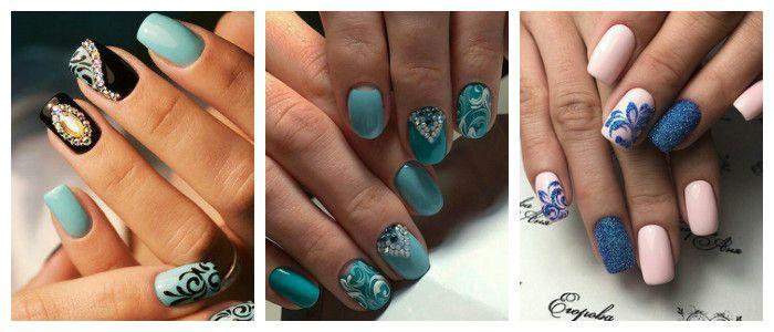 Фото дизайна ногтей на Новый год 2016 - 2017 с вензелевым рисунком