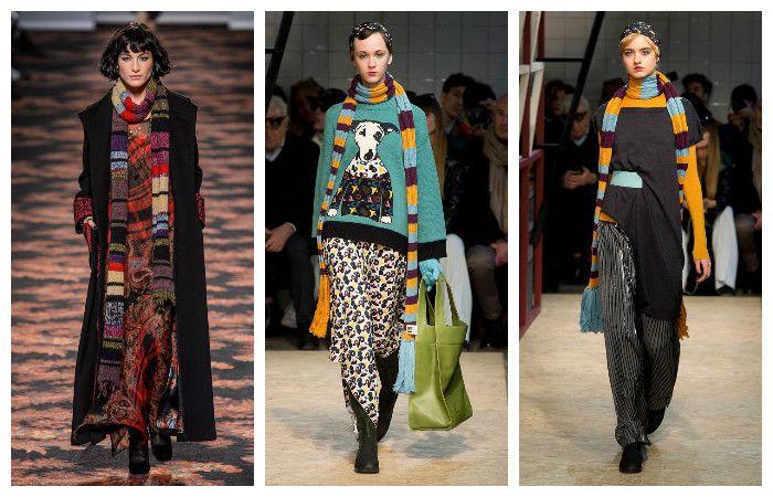 Модная одежда осень-зима 2016 – 2017. Шарфы, фото.