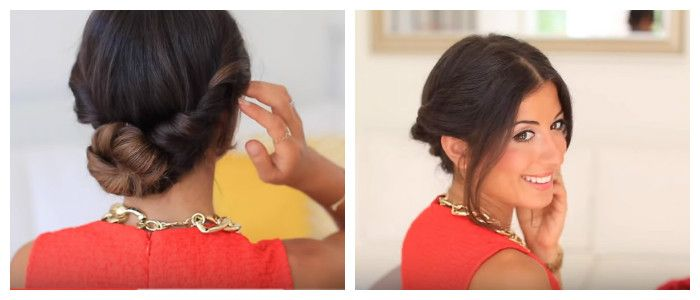 Пошаговое фото. Как сделать прическу с пучком на средние волосы.