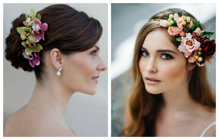 Фото прически с украшением из цветов на средние волосы