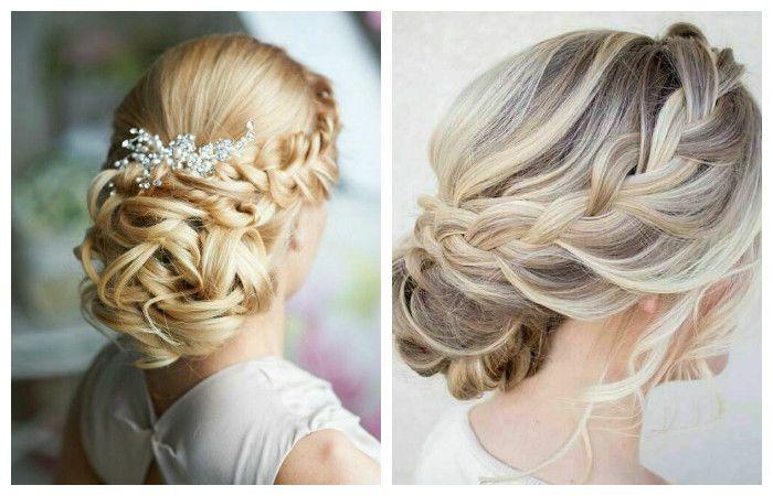 Фото свадебной прически с косой с боку на средние волосы
