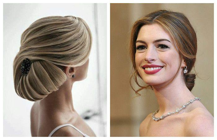 Фото свадебной или вечерней укладки на средние волосы