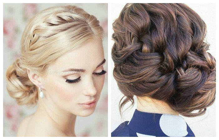 Фото свадебной или вечерней укладки с косой на средние волосы