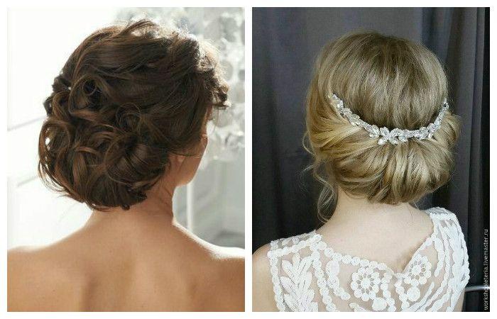 Фото свадебной укладки на волосысредней длины