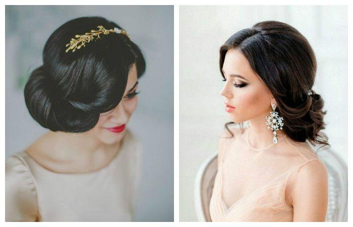 Фото свадебной прически с удлиненной челкой на средние волосы