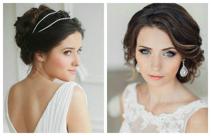 Фото романтической прически на свадьбу, выполненной на средние волосы