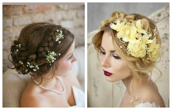 Фото свадебной прически с одно косой, заплетенной вокруг головы, на средние волосы