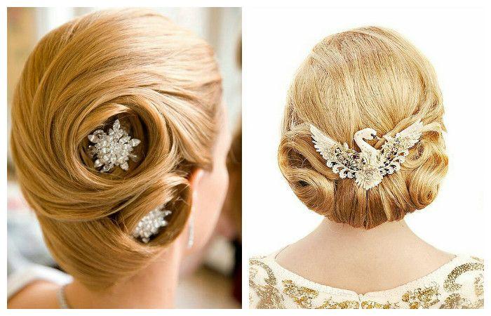 Фото свадебной прически с оригинальными аксессуарами на средние волосы