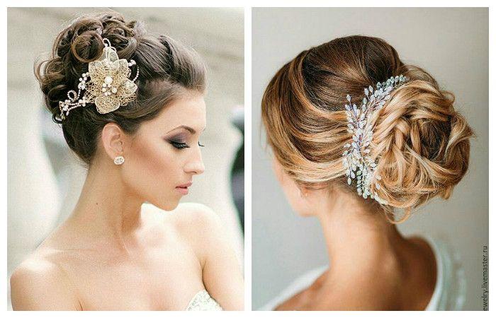 Фото свадебной прически с использованием аксессуаров на средние волосы