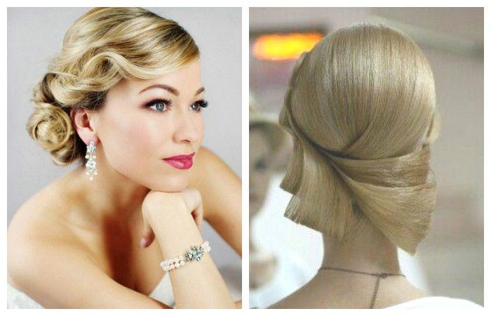Фото стильной свадебной укладки на средние волосы