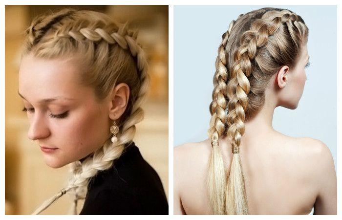 Прически на средние волосы с косами
