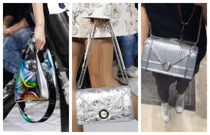 Модные сумки цвета серебро осень – зима 2016 – 2017, фото.