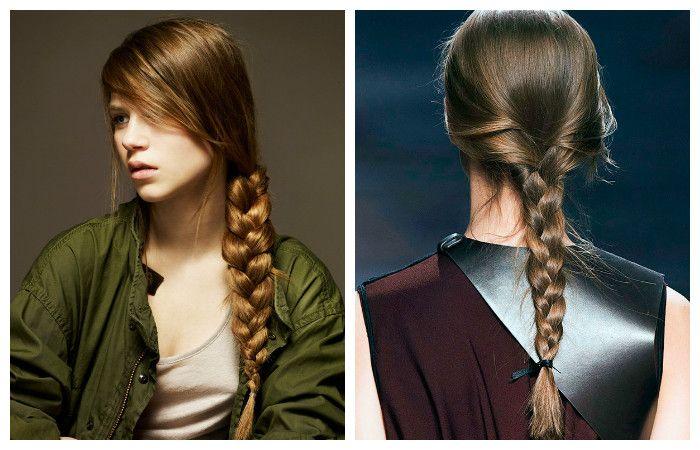 Прическа с обычной косой для длинных волос, фото