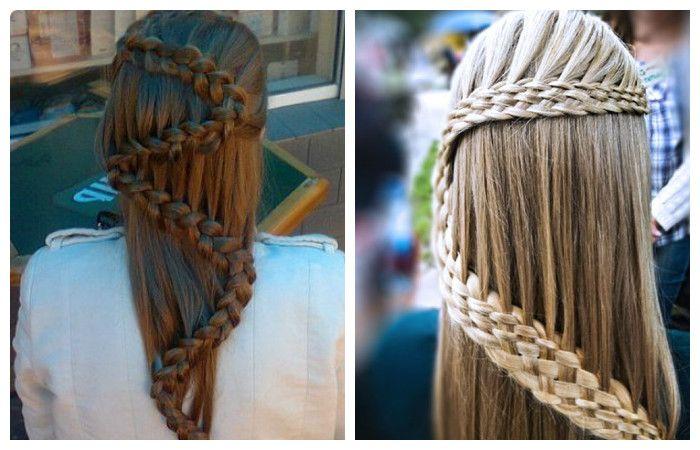 Прическа с косой в виде змейки для длинных волос, фото