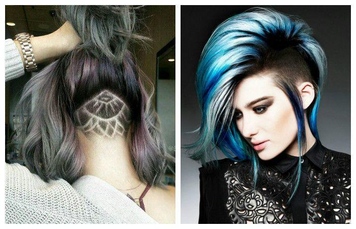 Креативные прически с выстригом на длинные волосы, фото