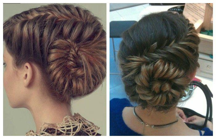 Прическа с косой в виде ракушки для длинных волос, фото