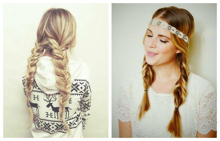 Прическа с двумя косами для длинных волос, фото