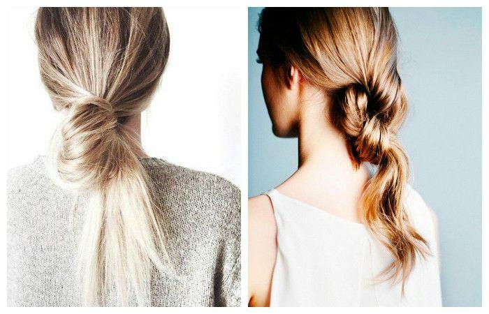 """Прическа с """"узлами"""" для длинных волос, фото"""