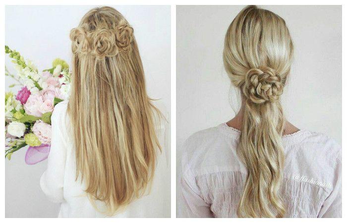 Прическа с косами в виде цветов для длинных волос, фото