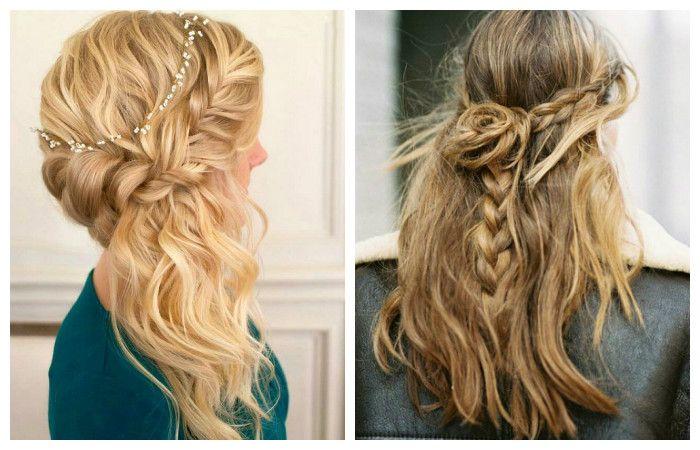 Прически с красивым плетением косы и распущенными длинными волосами, фото