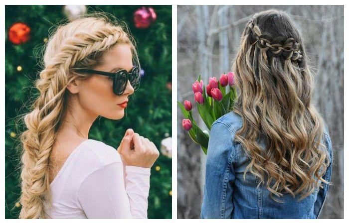 Романтические образы с прической с косой для длинных волос, фото