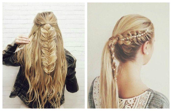 Повседневные прически с косой на длинные волосы, фото