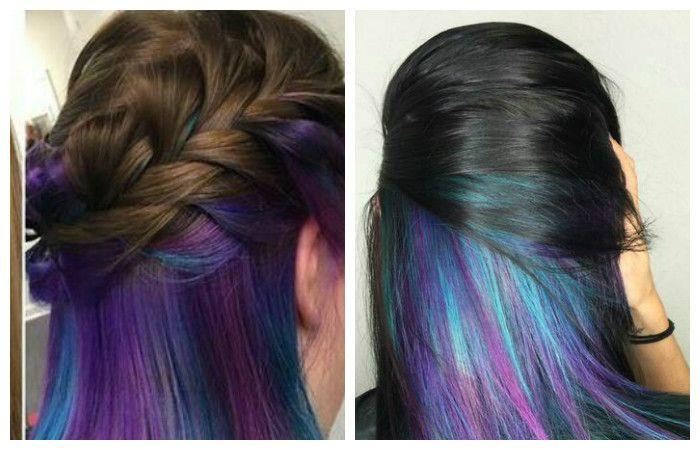 """Прически с """"радужным"""" окрашиванием на длинные волосы, фото"""