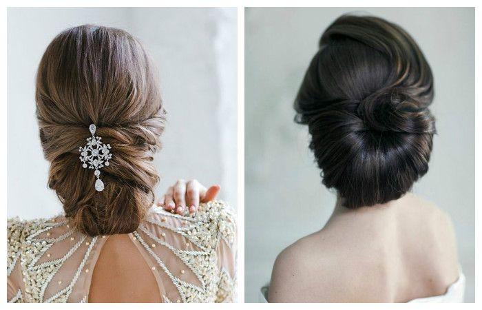 Свадебная прическа с волосами, уложенными к низу, фото