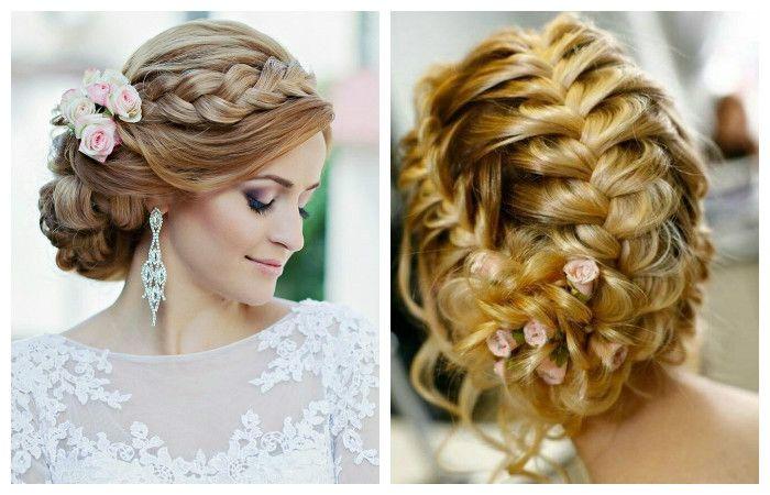 Свадебная прическа с косами на длинные волосы, фото