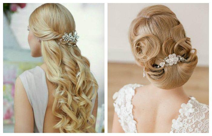 Свадебная прическа с заколкой на длинные волосы, фото