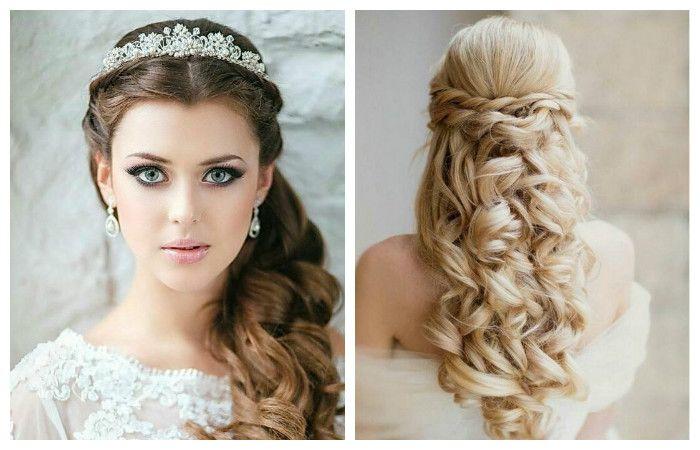 Свадебная прическа с распущенными длинными волосами, фото